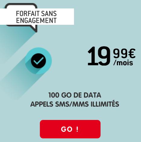 Sans engagement, un forfait 4G avec 100 Go de data chez NRJ Mobile.