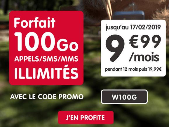 Forfait pas cher de NRJ Mobile avec 10€ de remise et 100 Go de 4G.