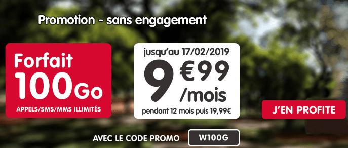 NRJ Mobile et la promo pour un forfait pas cher à moins de 10€et 100 Go de 4G.