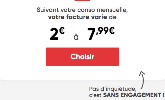 Forfait mobile Prixel 2€ par mois au minimum.