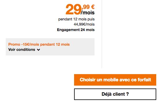 Forfait mobile 4G Orange pas cher.