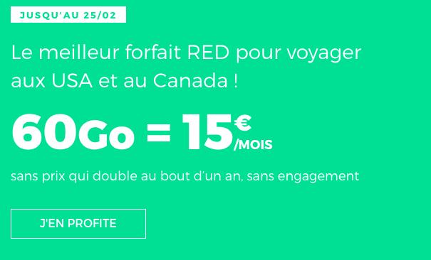 Promotion forfait RED by SFR itinérance des données.