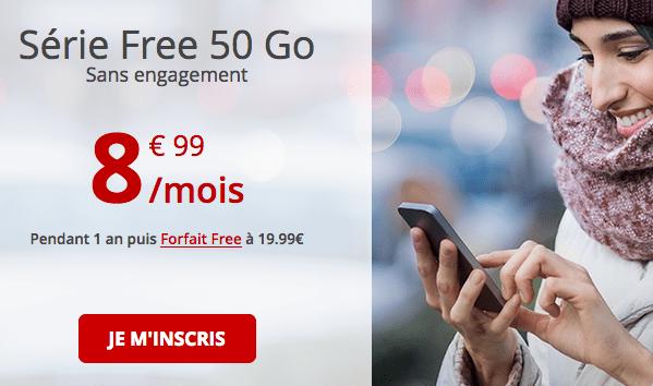 Forfait série Free 50 Go en promotion sans engagement.