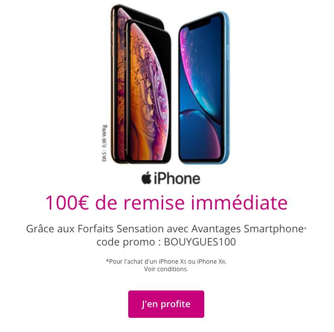 Les iPhone pas chers avec 100€ de réduction sont un bon plan de Bouygues Telecom.