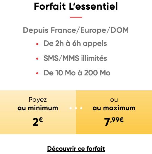 L'essentiel, le forfait flexible et sans engagement de Prixtel à partir de 2€.