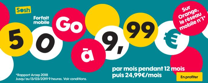Le forfait Sosh 50 Go.