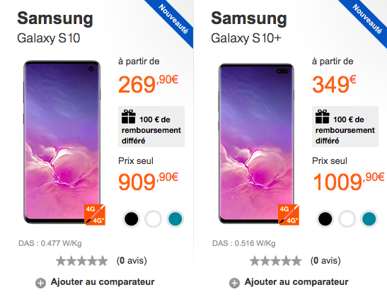 Le Samsung galaxy S10 et S10+ avec Orange.