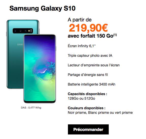 le samsung galaxy S10 avec forfait orange