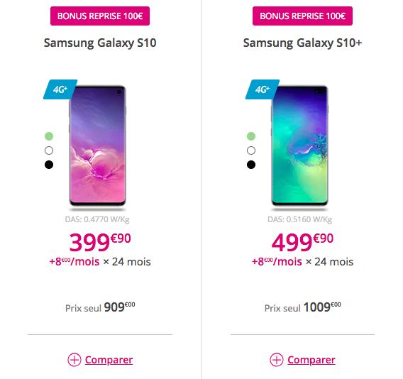 Les Galaxy S10 et S10+ avec Bouygues Telecom