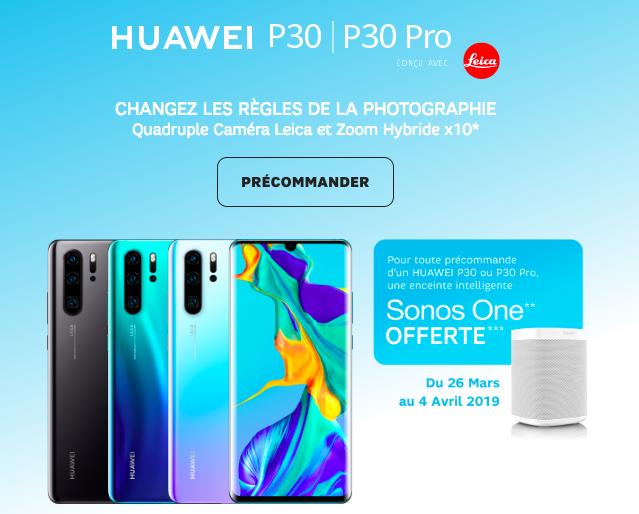 Précommande du Huawei P30 avec sfr