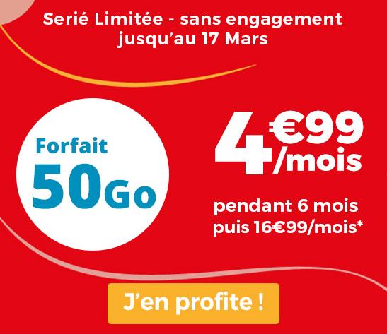 Promo chez Auchan Telecom pour un forfait sans engagement avec 50 Go de 4G.