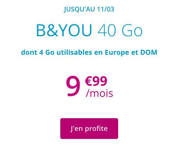 Forfait en promotion chez B&YOU, avec 40 Go pour moins de 10€.