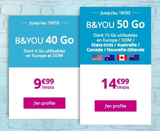 Forfaits mobiles à bas prix riches en 4G chez B&YOU.