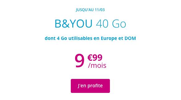 Forfait B&YOU en promotion avec 40 Go de data.