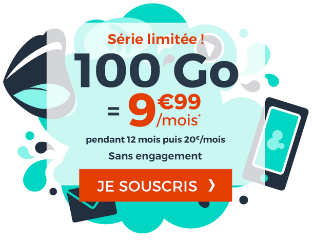 100 Go de 4G pour 10€ avec la promo de Cdiscount Mobile.