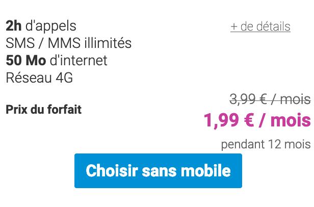 Forfait à moins de 2€chez Coriolis Telecom.