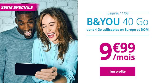Promotion sur le forfait 4G de B&YOU avec 40 Go de data.