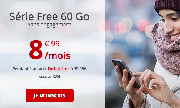 Forfait mobile en promotion chez Free avec 60 Go de 4G.