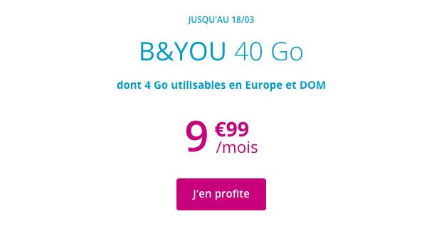 Promotion forfait B&YOU 40 Go avec appels illimités.