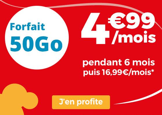 Auchan Telecom forfait pas cher avec 50 Go de data.