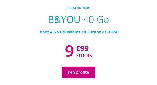 Forfait mobile B&YOU 40 Go à 9,99€ par mois à vie.