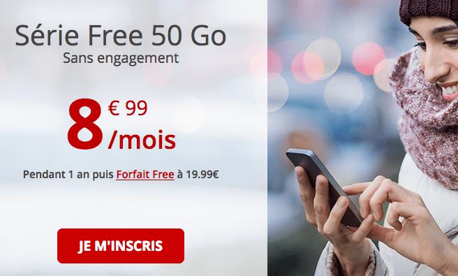 Promo forfait Free avec 50 Go de data.