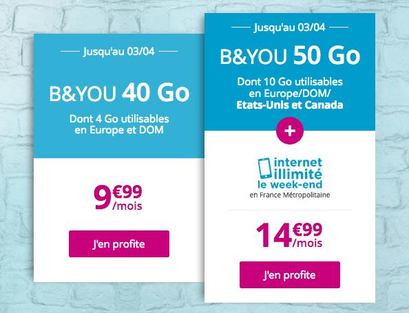 Promo forfait B&YOU 50 Go riche en 4G.