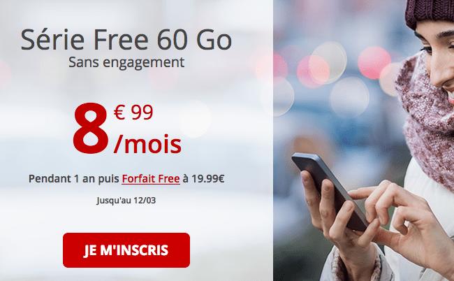 Forfait mobile Free en promotion avec 60 Go de data.