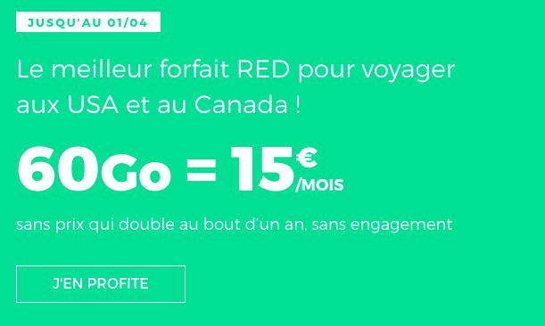 Forfait mobile en promtoion avec 60 Go de data chez RED by SFR.