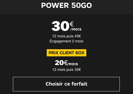 SFR Power 50 Go promo forfait 4G.