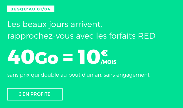 Promo forfait mobile RED by SFR.