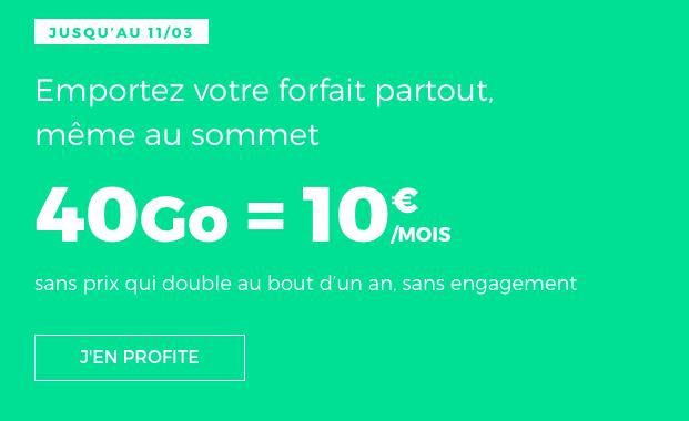 forfait RED by SFR en promotion avec 40 Go de données internet.