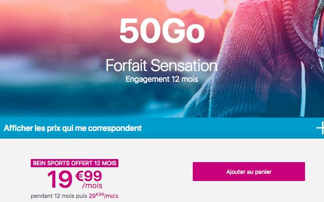 50 Go de data chez Bouygues Telecom dans l'offre Sensation 50 Go.