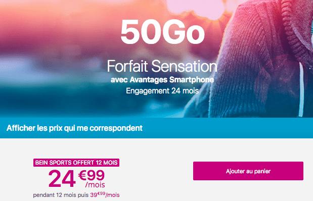 Forfait mobile Sensation 50 Go promotion Bouygues Telecom.