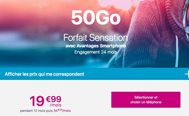 Bouygues Telecom promotion forfait Sensation 50 Go.