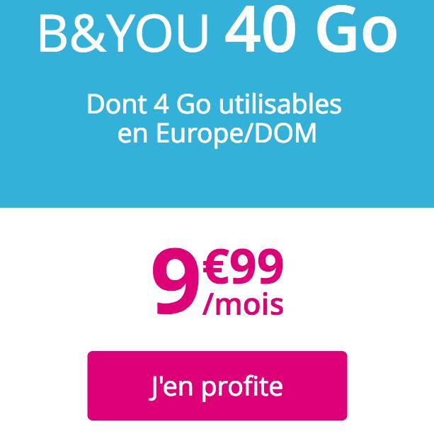 Le forfait à vie B&YOU 40 Go.