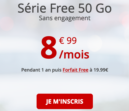 Forfait 4G à bas prix disponible sans engagement chez Free mobile.