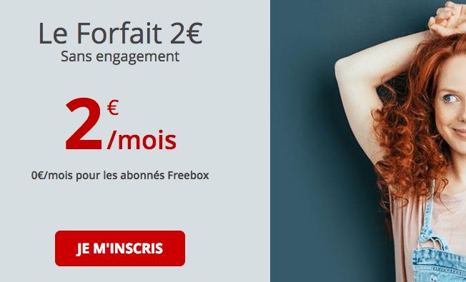 Le forfait Free à 2€ par mois est disponible.