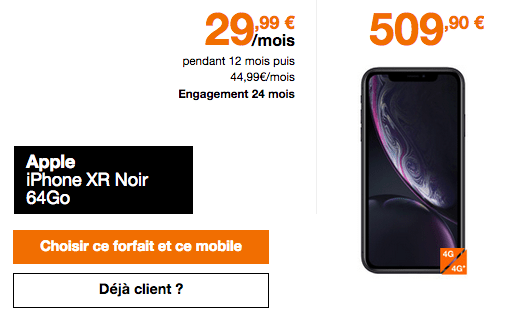 Acheter iPhone XR chez Orange.