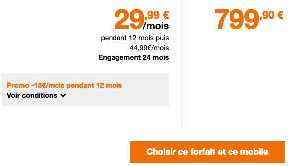 Forfait 4G avec engagement pour l'iPhone XS vendu par Orange.