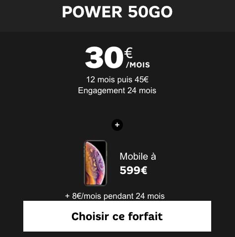 Meilleur prix pour l'iPhone XS avec un forfait 4G chez SFR