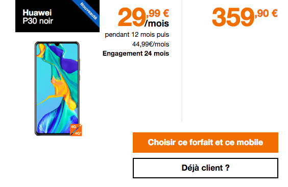 Huawei P30 avec forfait 50 Go d'Orange.