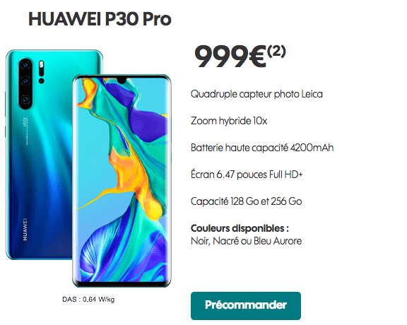 Huawei P30 Pro précommande Sosh.