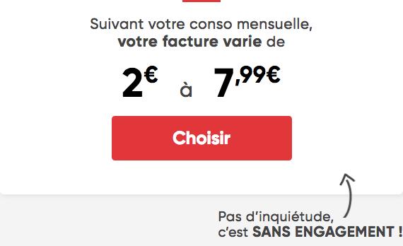 Prixtel forfait à partir de 2€ par mois.