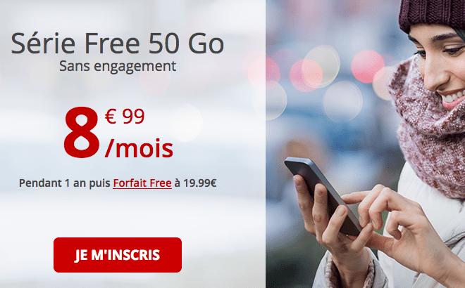 Forfait 4G chez Free avec 50 Go de data pas cher.