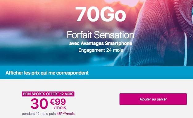 Promotion forfait Sensation 70 Go Bouygues Telecom.