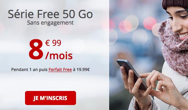 Free mobile forfait pas cher avec 50 Go de 4G.