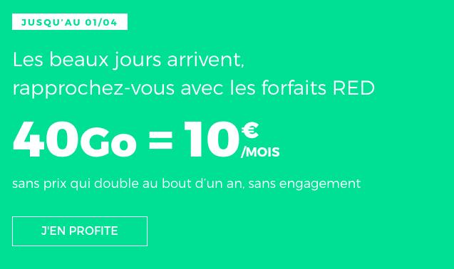 Forfait mobile RED by SFR promotion avec 40 Go de data.