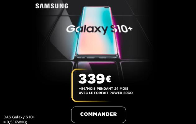 Samsung Galaxy S10 en promotion chez SFR avec forfait subventionné.