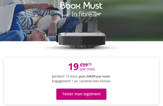 Box internet fibre optique en promotion chez Bouygues Telecom.